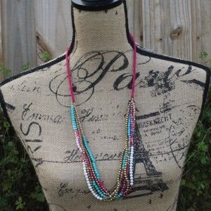 3/$10 PINK BRAIDED 5 STRAND BEAD NECKLACE
